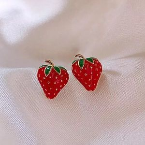Strawberry Fruit Minimalist Stud Earrings